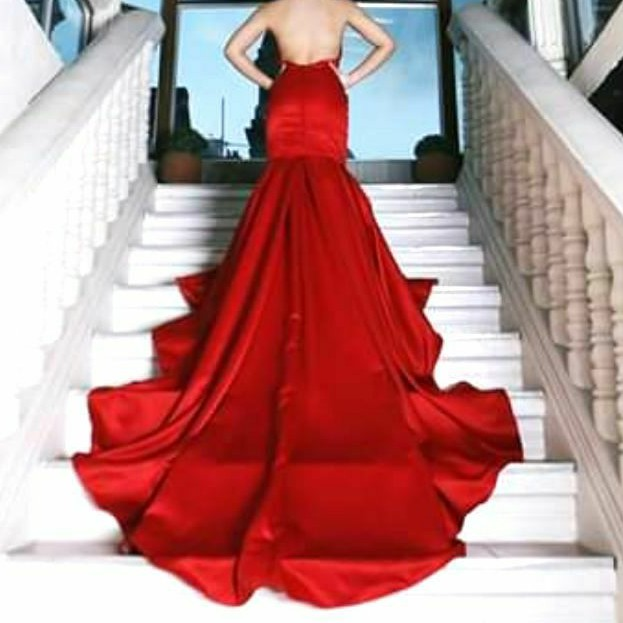 Silky Red Backless Long Gown For Debut Prom Photoshoot Etc Shopee Philippines