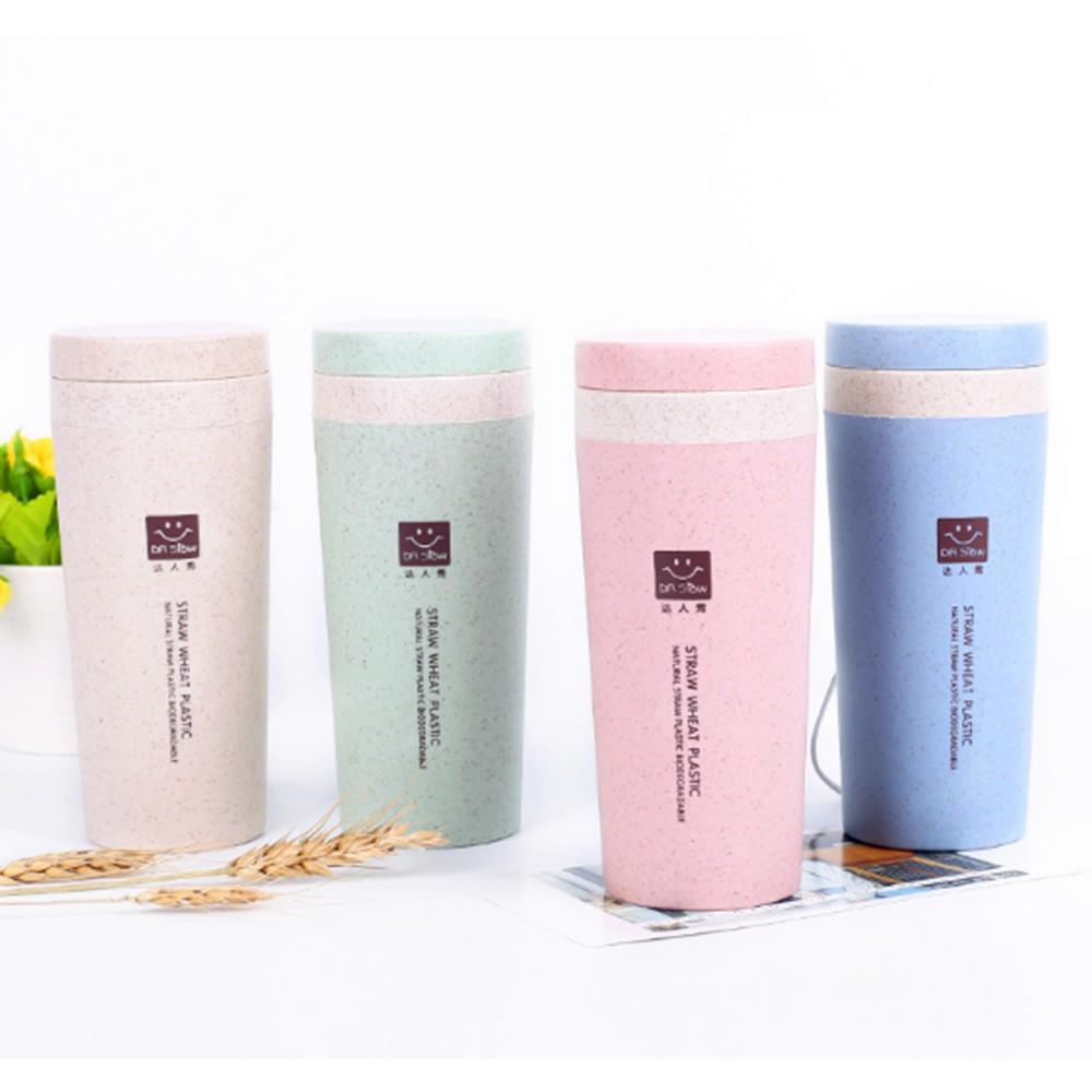 300ml Wheat Straw Double Layer Coffee Mug Tumbler Bottle