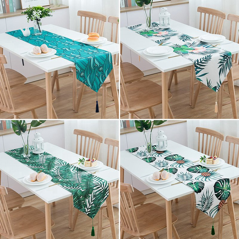 Green Leaves Table Runner Table Cloth Wedding Party Table Decor Shopee Philippines