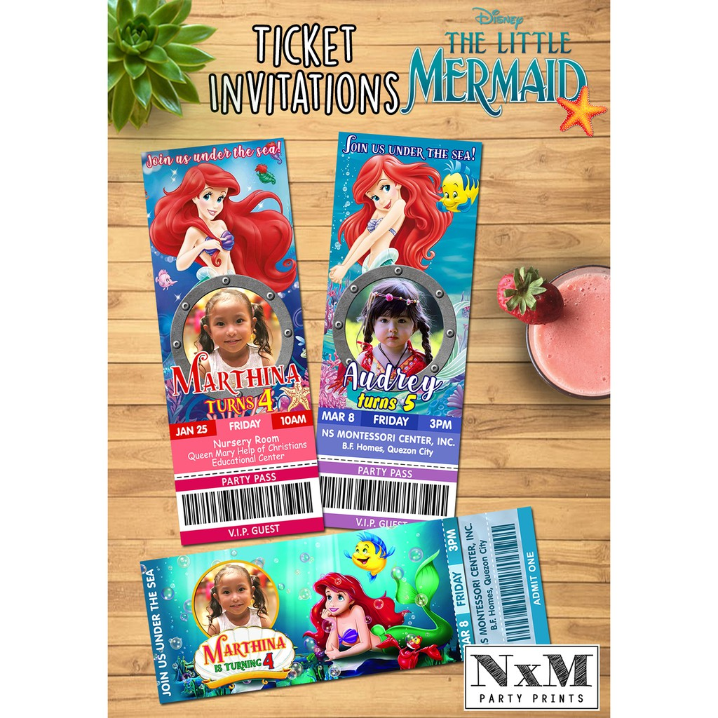 Little Mermaid Ariel Ticket Style Invitation Card