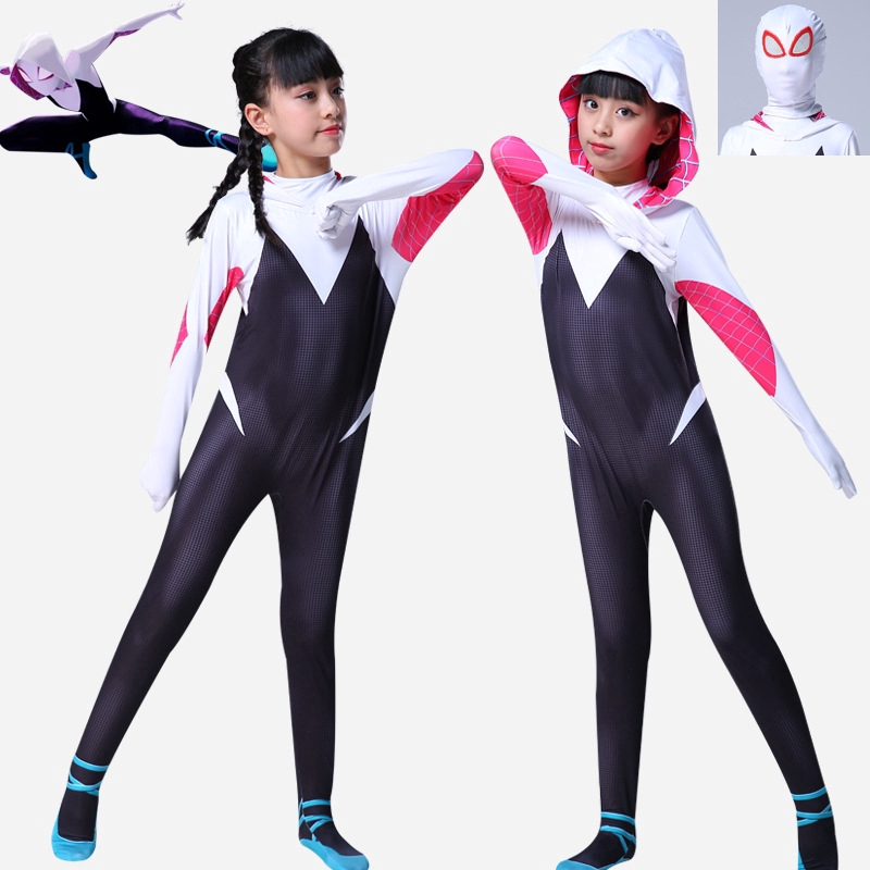 Gwen Stacy Spider Girl Cosplay Costume Spider-Gwen Zentai Suit  For Adult /& Kids