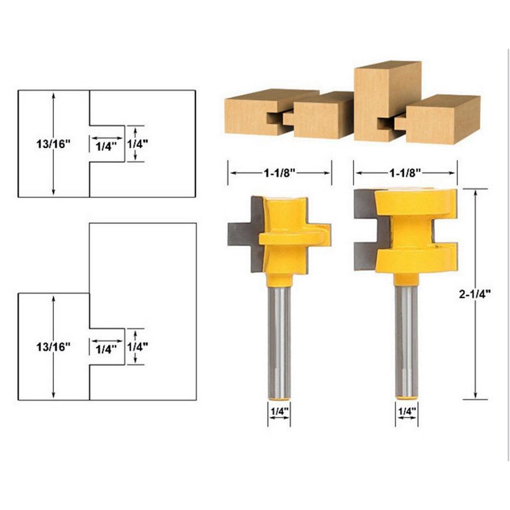 2 Bit Tongue /& Groove Router Bit Set 1//4 Shank T-shape Wood Milling 10-25mm Kit