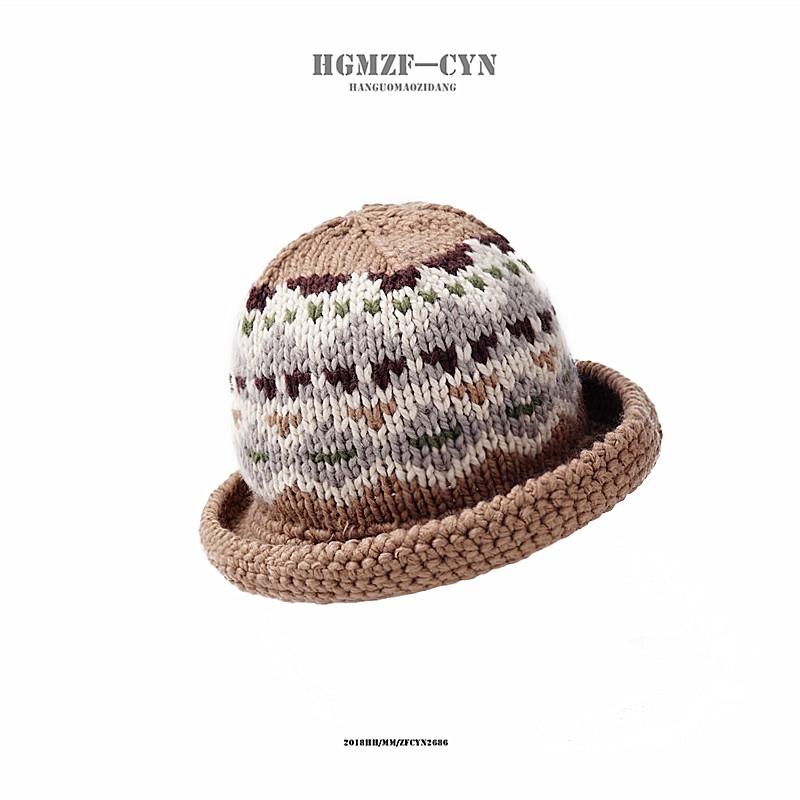 9c5560f3402 Hat female winter retro literary wool fisherman hat Korean v ...
