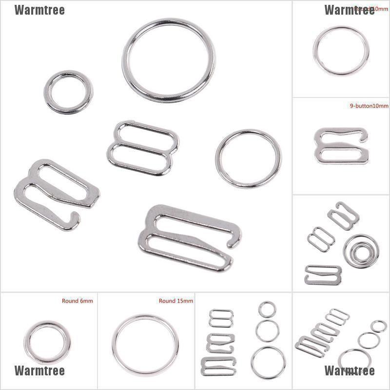 10pcs Silver Metal Bra Strap Adjuster Slider Hook 9-Shape Lingerie Sewing Crafts