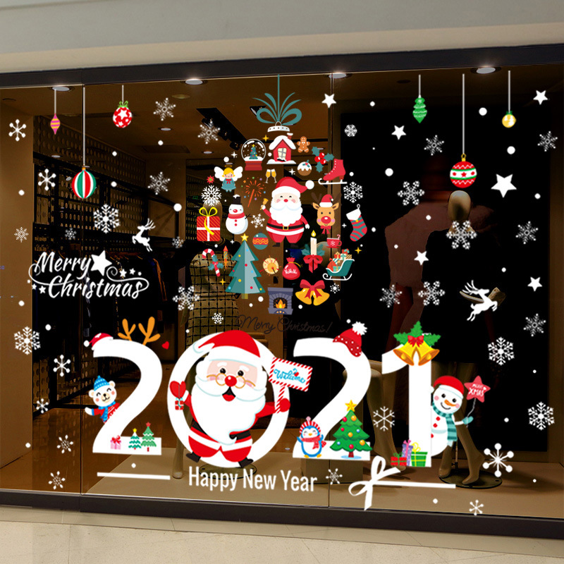 Christmas In The Philippines 2021 2021 Christmas New Year Decoration Santa Claus Glass Pendant Garland Shop Shop Window Decal Decoration Decoration Shopee Philippines