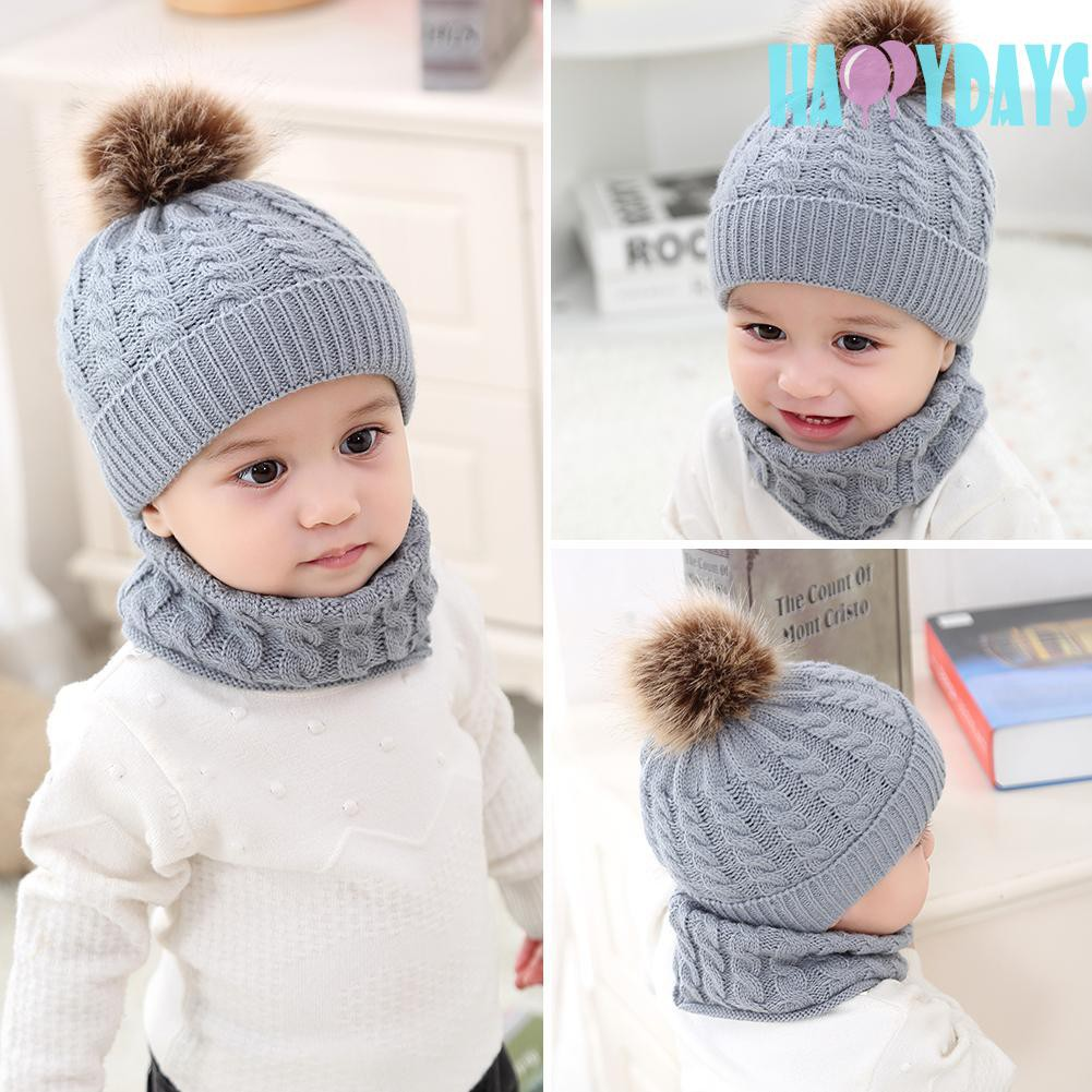 7c9546c51ed77a ProductImage. ProductImage. 2pcs Baby Hats Scarf Set Winter Knitted Fur Warm  Ball Cap