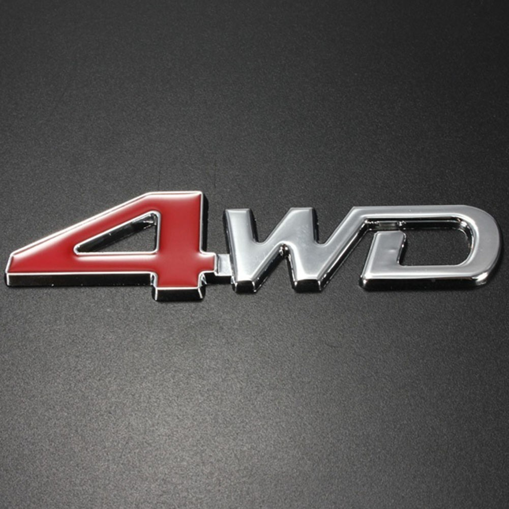 "Car 3D Aluminum /""4WD/"" Logo Red 4 Rear Trunk Fender Emblem Decor Badge Sticker"