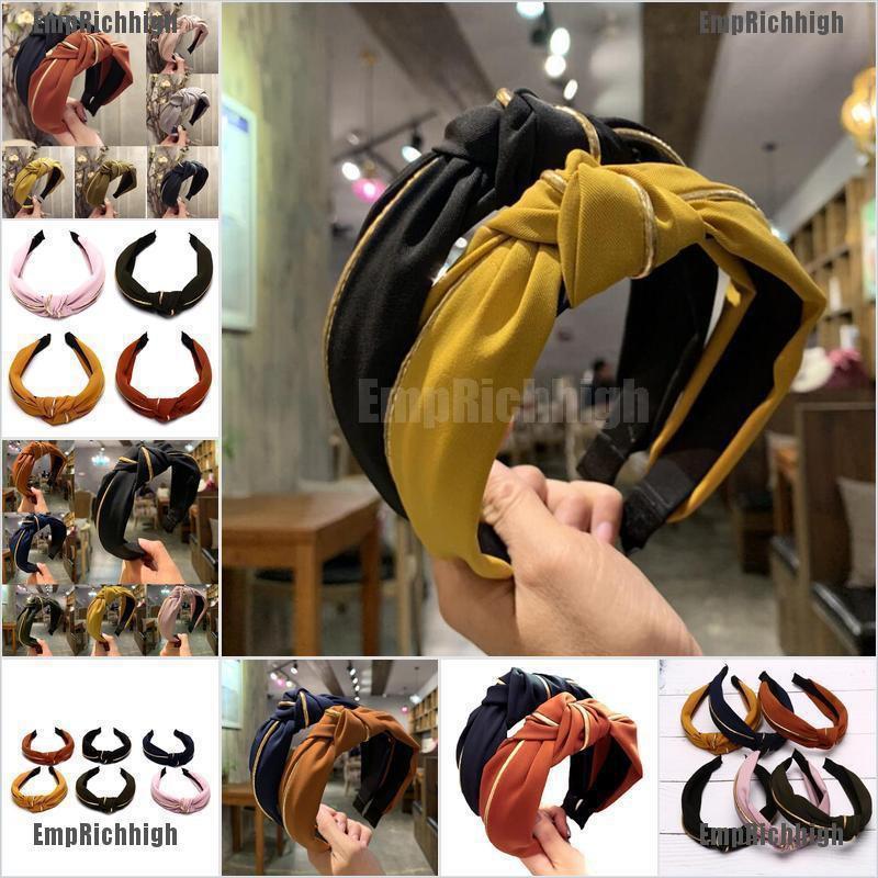 Women Headband Twist Hairband Bow Knot Cross Tie Cloth Hair Band Headwear Colors