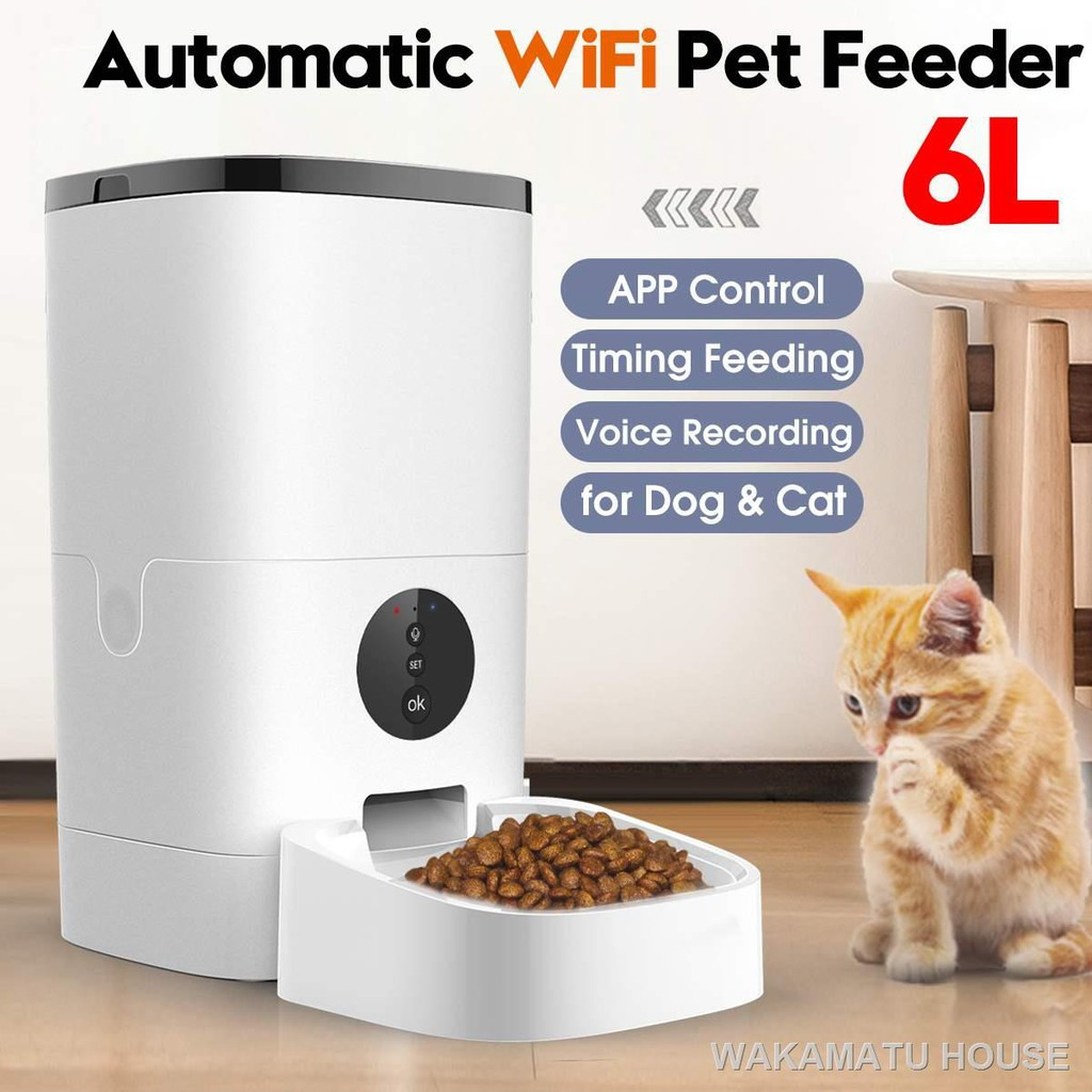 Smart Wifi Automatic Cat Feeder 6l Pet Food Dispenser Feeding Bowl Dog 4 Meal Voice Recorder Timer Shopee Philippines