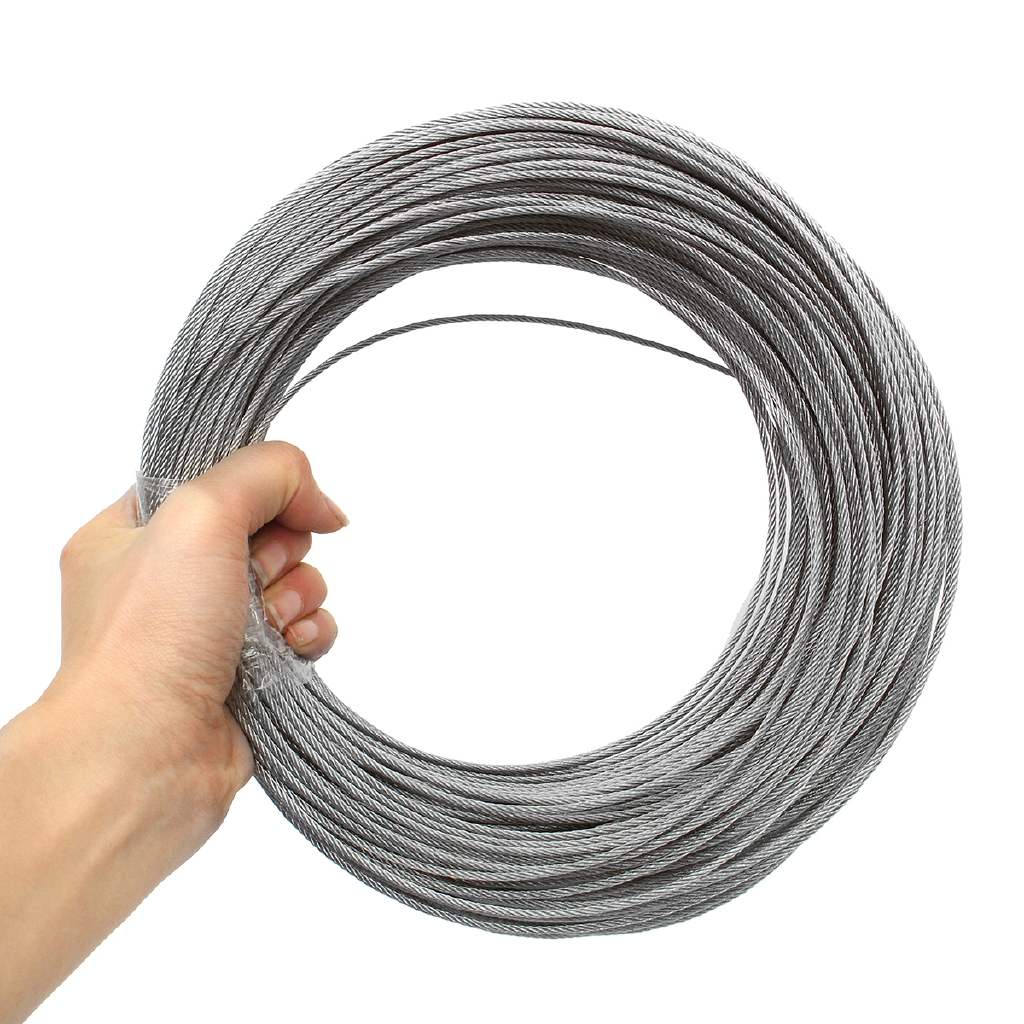5M 1mm Silver 304 Stainless Steel Single Hard Wire Hanging Fastening Craft
