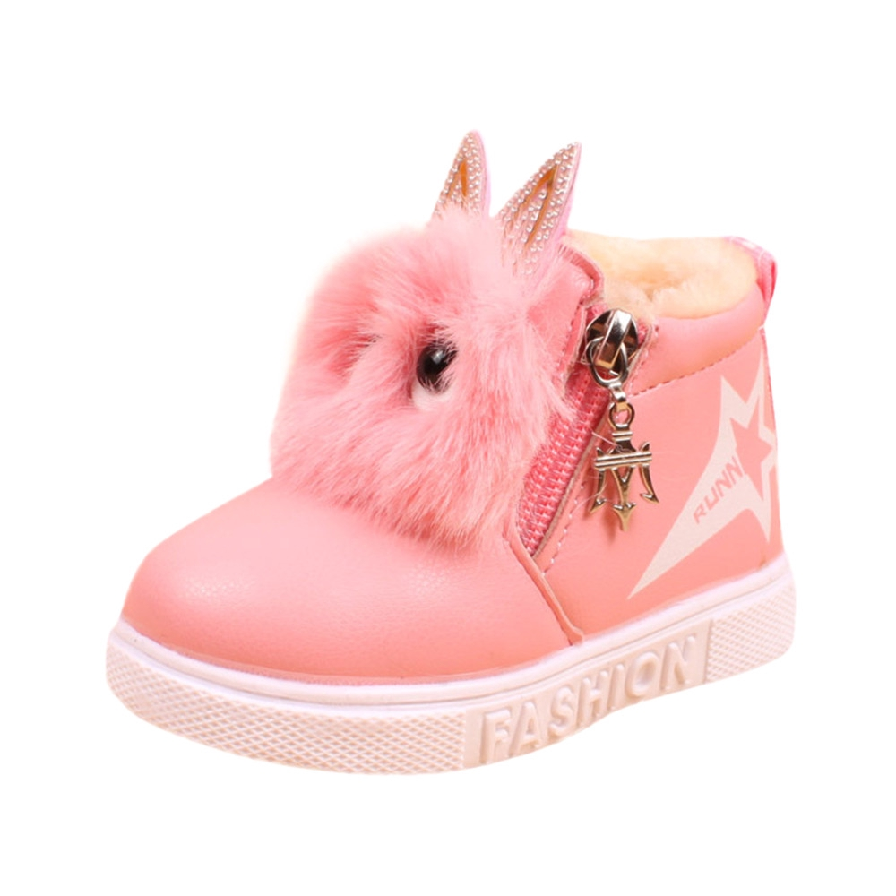 Kids Girls Winter Warm Boots Princess Bow Lace Zipper Mid-Calf Waterproof Boots❤