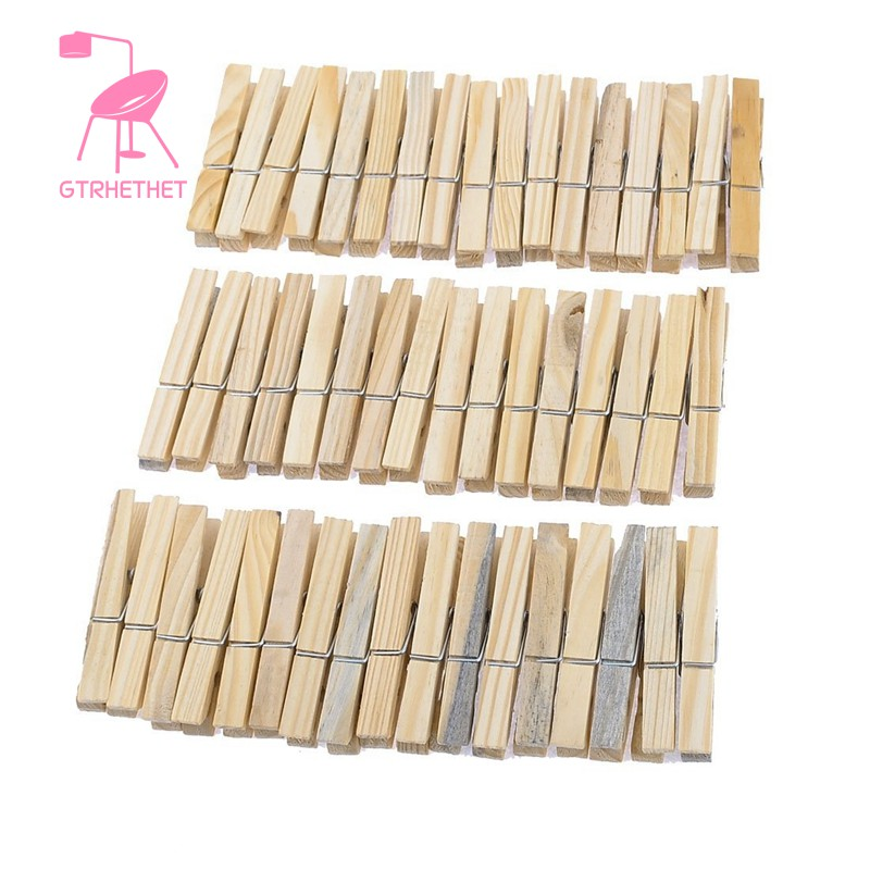 Laundry Wooden Clothes Pins Pegs Hanging Clips Clothespin 52 Pcs