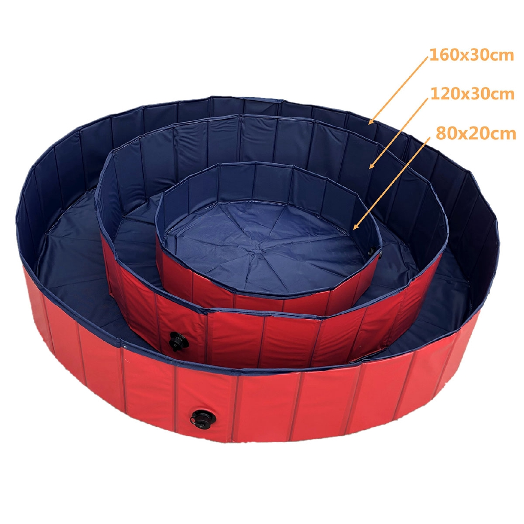 L: 120 x 30 cm Paddling Pool for Pets and Kids, Foldable Dog Swimming Pool PVC Non-Slip Bathing Tub Sturdy Children Pet Dog Paddling Bathing Pool for Garden Patio Bathroom Come with Glove Brush