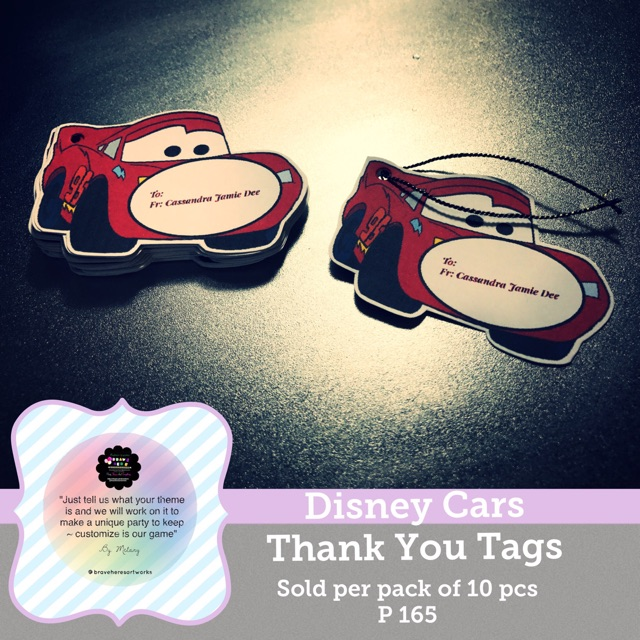 BraveHere~ Disney Cars Thank You Tags Sold per pack of 10's