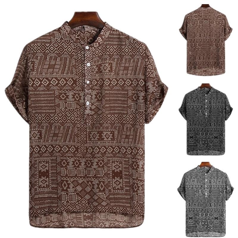 GLORYA Men Printed Top Camo Button-Down Outdoor Short Sleeve Shirts