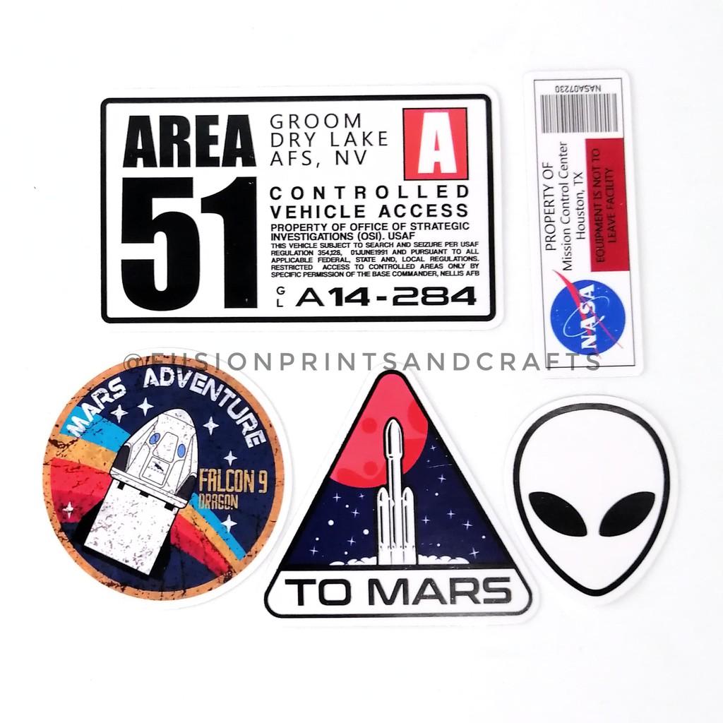 AREA 51, NASA BARCODE, MARS FALCON 9, TO MARS, ALIEN - MOTOR HELMET LAPTOP  STICKER | Shopee Philippines