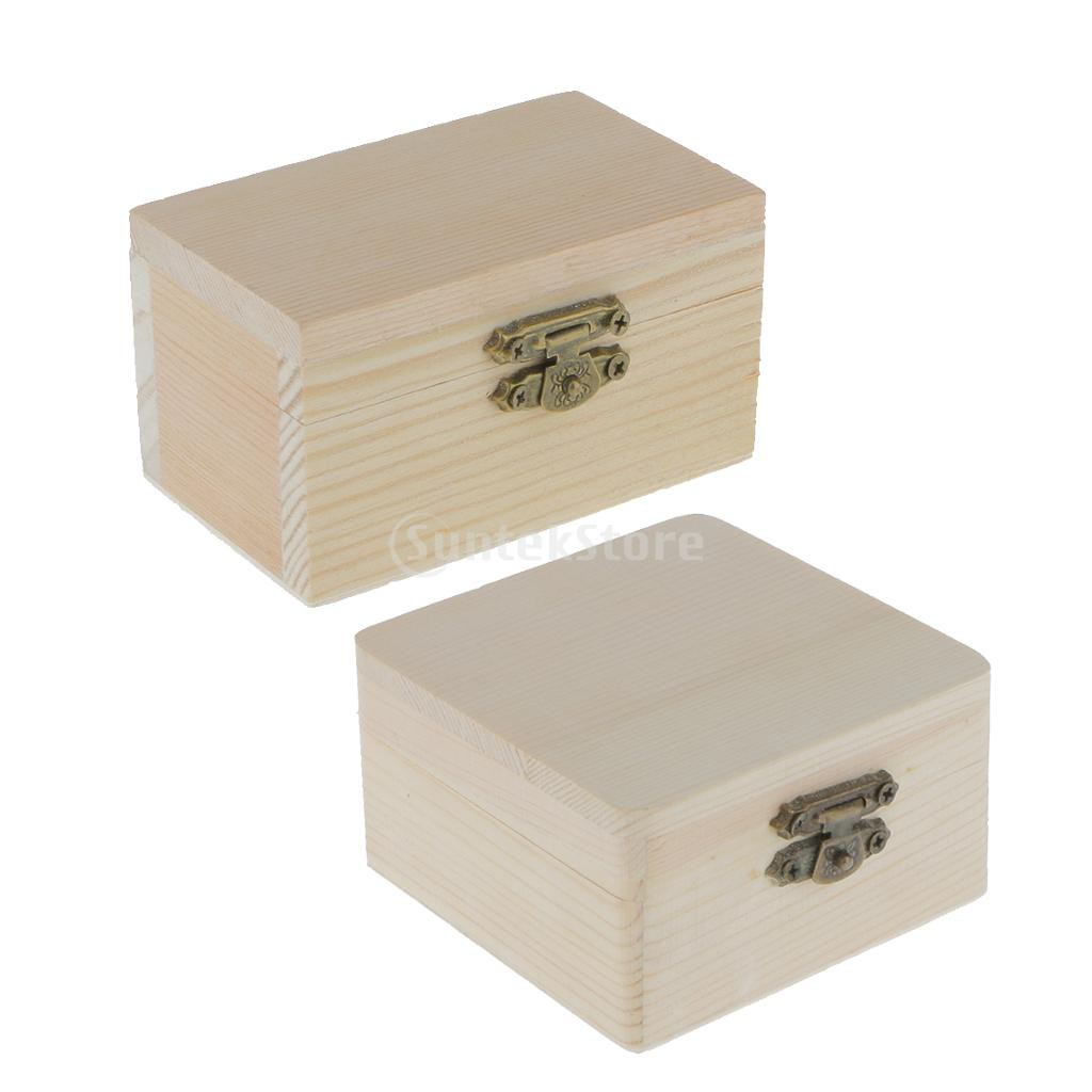 2pcs Unfinished Unpainted Wooden Jewelry Box Diy Storage Chest Treasure Case Shopee Philippines