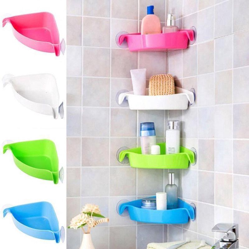 Plastic Suction Cup Bathroom Kitchen Corner Storage Rack Shopee Philippines
