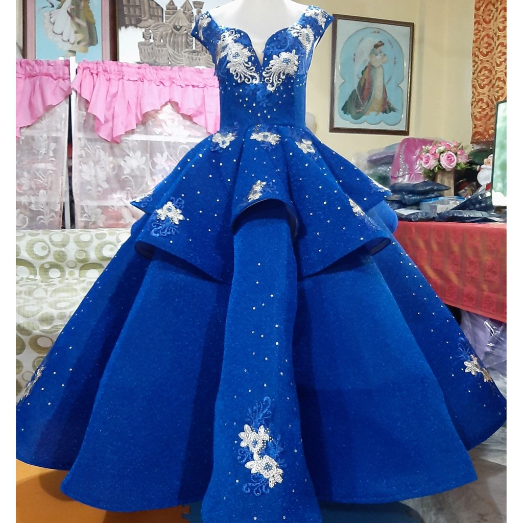 Elegant Royal Blue Ball Gown For Ladies An Off Shoulder Umbrella Ball Gown For Pageant Shopee Philippines