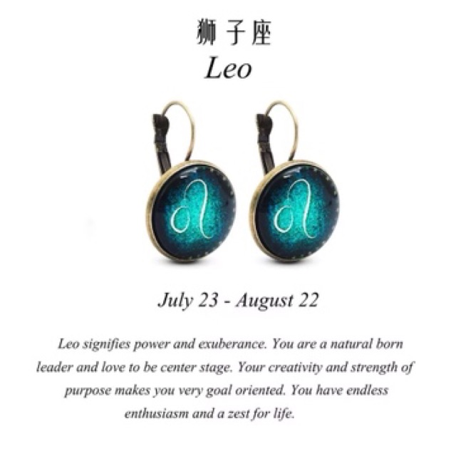 YH Glow in the dark zodiac signs Earrings with box | Shopee Philippines