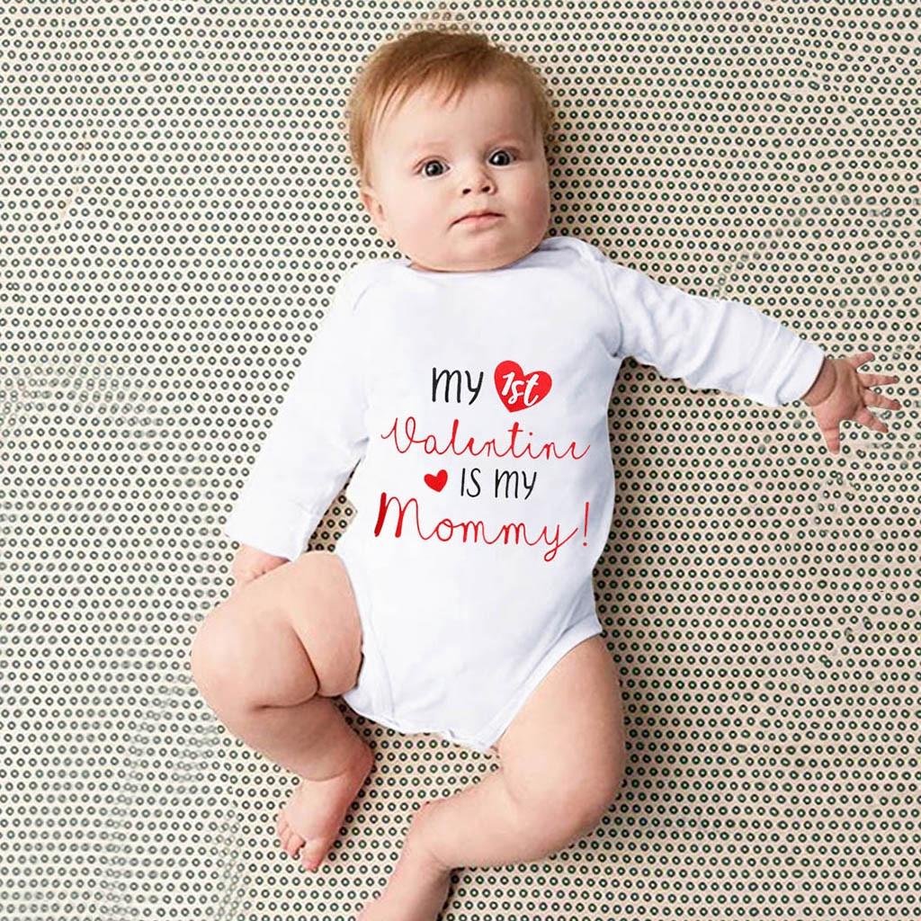 Toddler Newborn Baby Girls Boys O-Neck Letter Printed Tops Bodysuit Romper