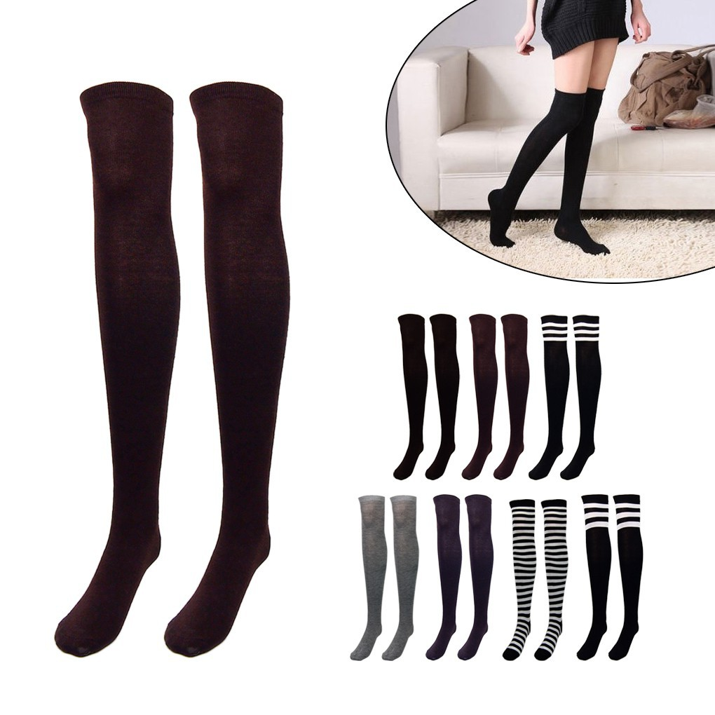 Ladies Womens Plain Over The Knee Black Grey Socks School Thigh High Stockings