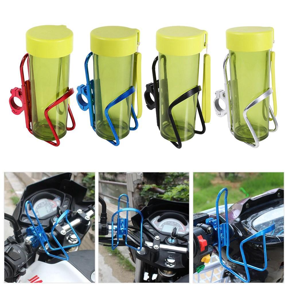 Black Motorcycle Drinks Bottle Holder,Motorcycle Motorbike Lightweight Aluminum Alloy Drink Cup Holder Water Beverage Support Handlebar Bottle Adapter for Motorbike Bike Bicycle ATV
