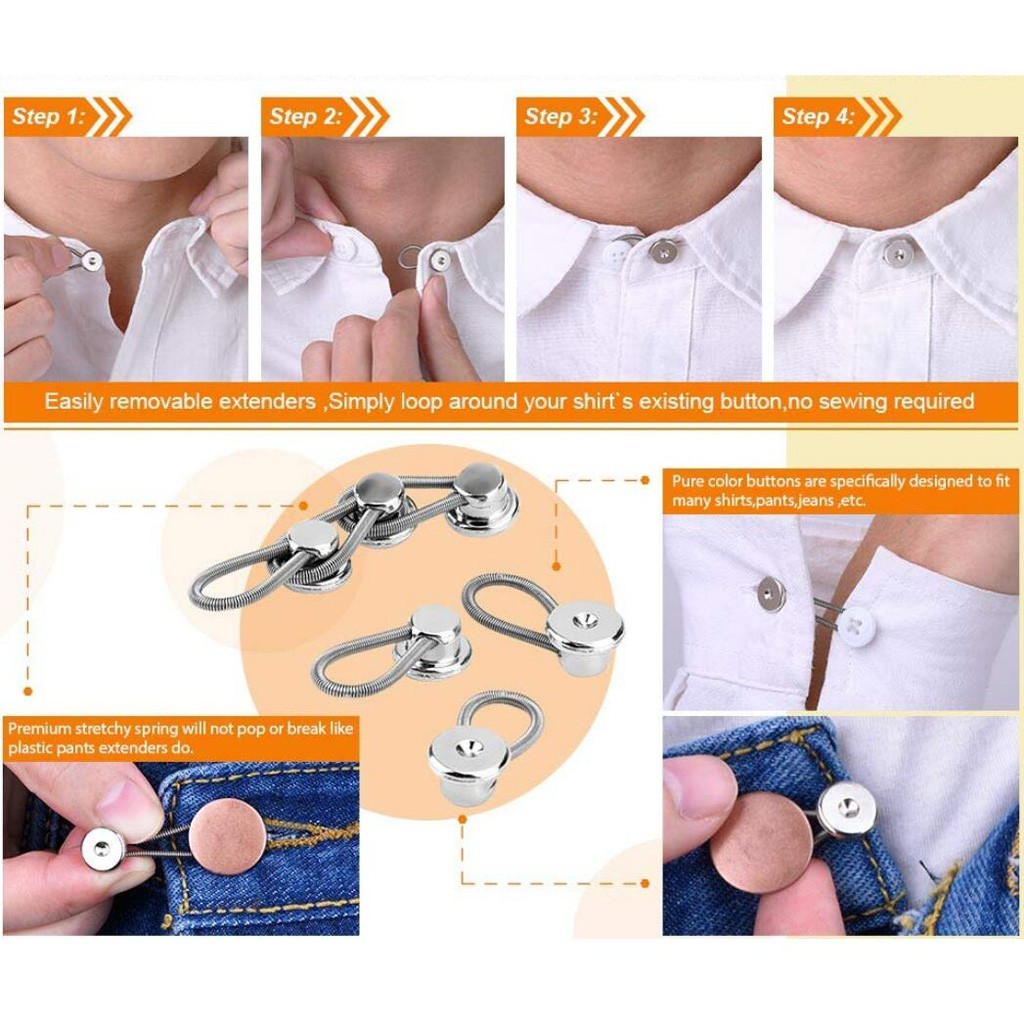 Suit/' Buttons/&Flexible Neck Jeans Shirts Top Expanders Spring Extenders Collar