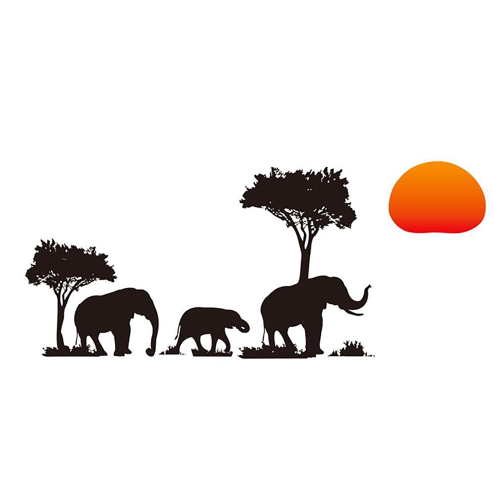 Romantic Africa Elephant Sunset Decal Wall Sticker Home Living Room Decor