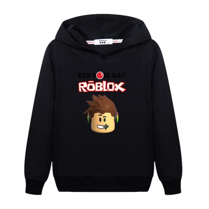 Boy Pullover Children Cotton Hoodies Roblox Print Sweatshirt - black hoodie roblox