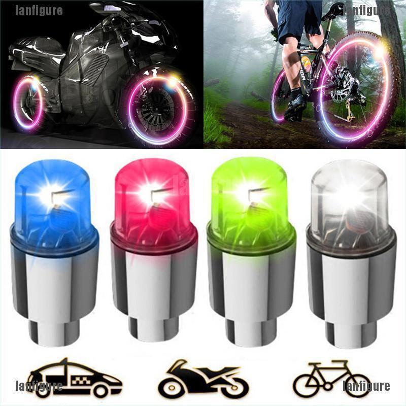 2Pcs LED Valve Cap Tyre Light Diamond Shaped Wheel Lamp For Car Motorbike Bike