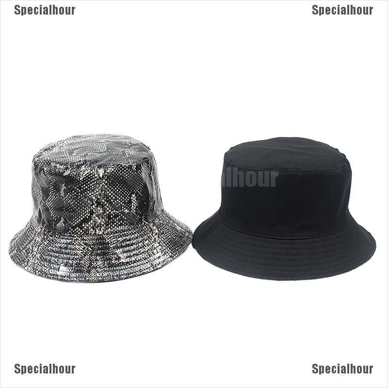 Women Men Bucket Hat Snake Print Sunshade Fishing Fisherman Bob Hat Double SideD