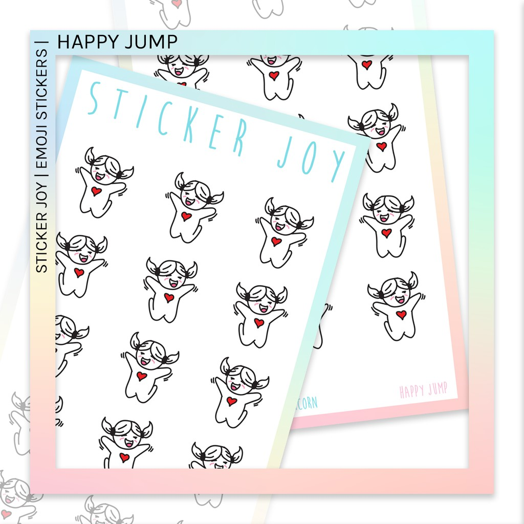 HAPPY JUMP Sticker Joy Emoji Icon Planner Sticker