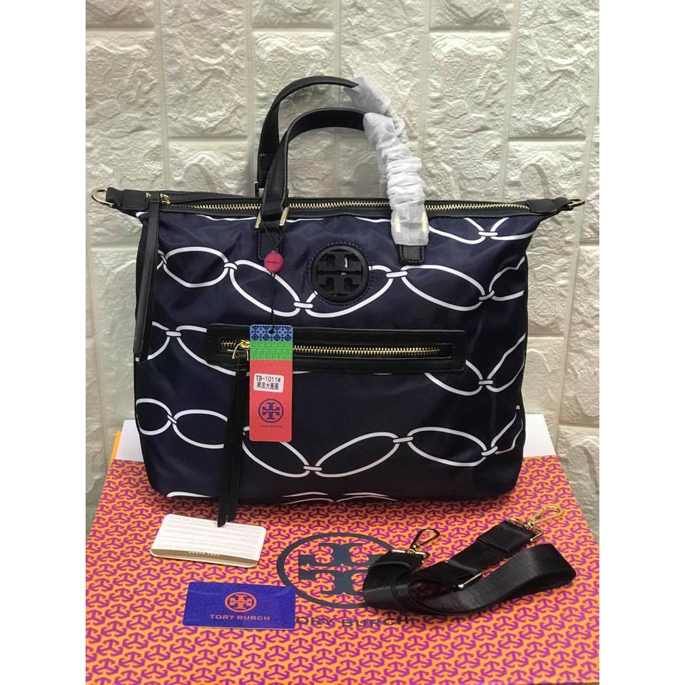 ed742c3a8e52 TORY BURCH Ella Striped Nylon Tote Bag