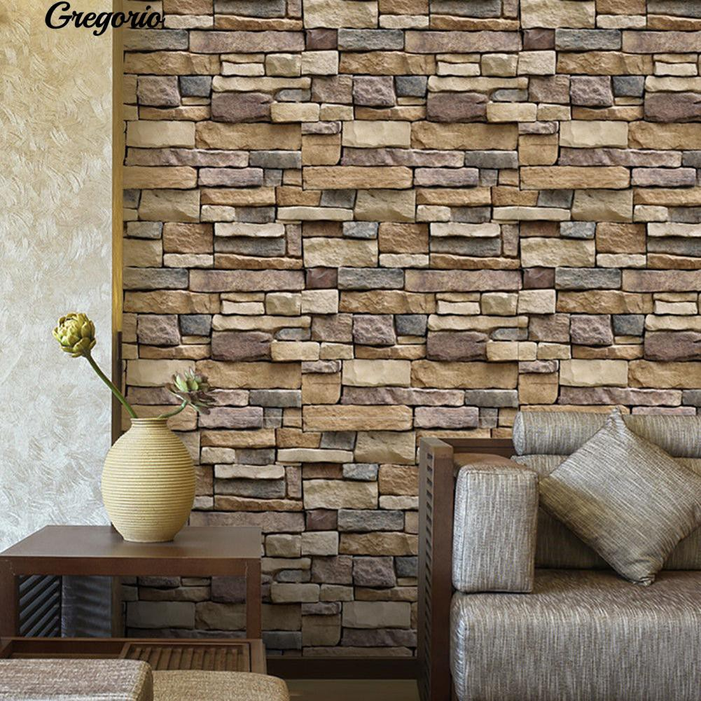 COD Gregorio Rustic 3D Effect Wallpaper Brick Stone Self Adhesive Wall Sticker Decal Decor