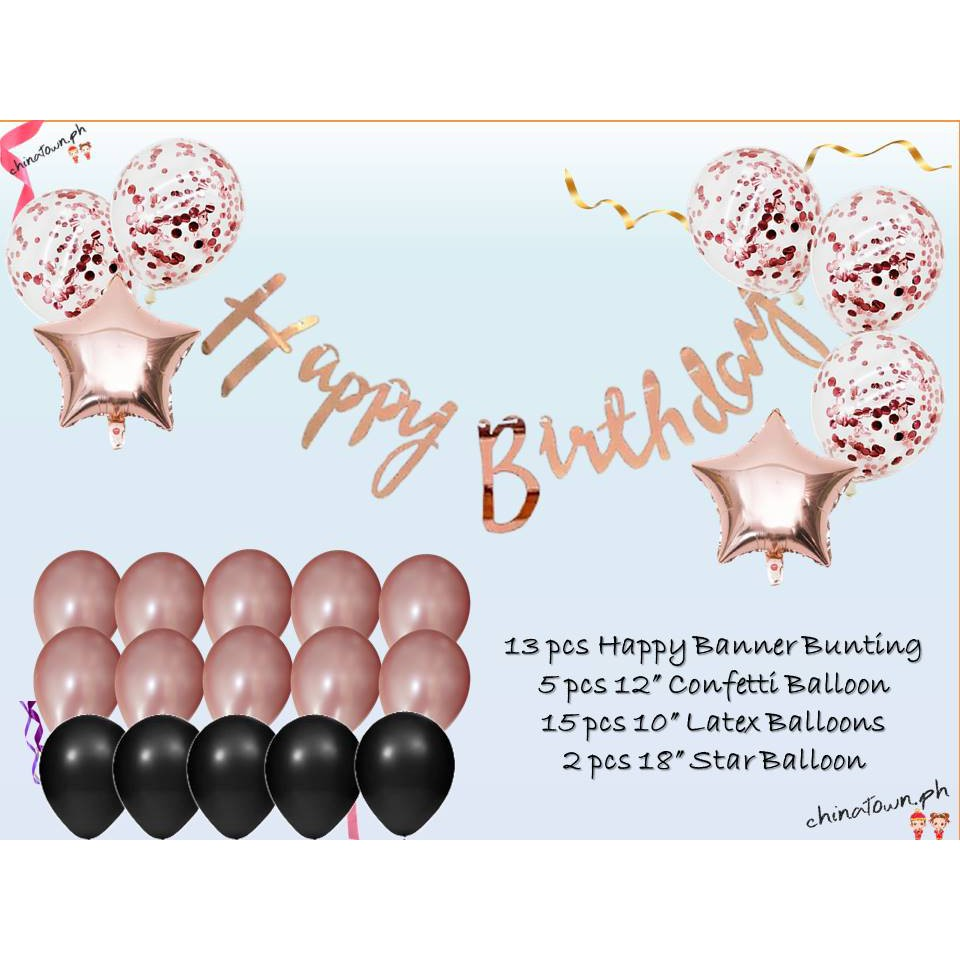 Capital Banner Girals Birthday Decors Shiny Rose Banner Glitter Banner Text Banner Large Size HAPPY BIRTHDAY Banner Birthday Backdrops