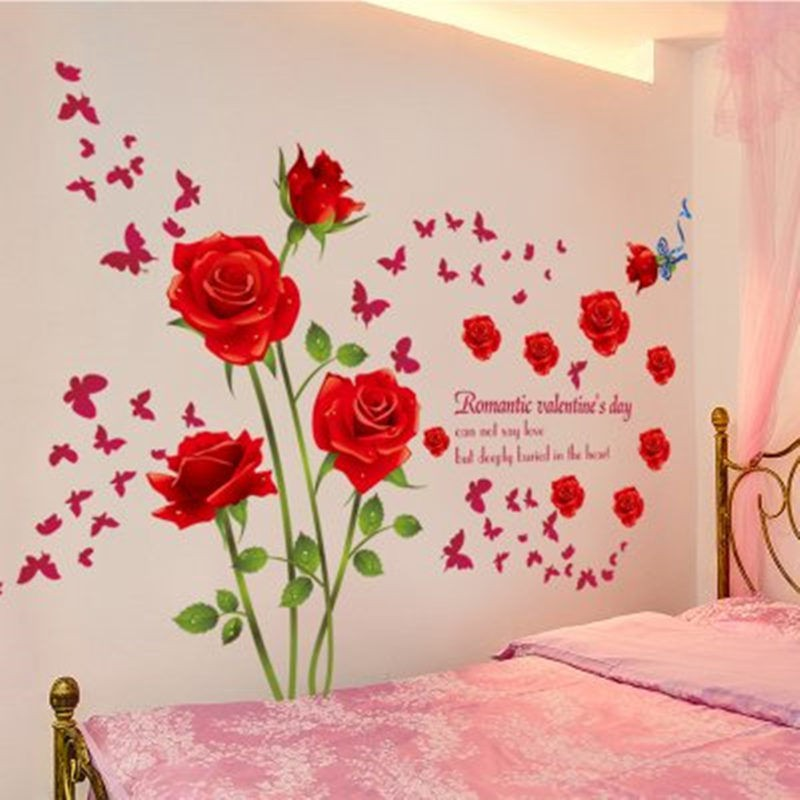 Diy 3d Bedroom Wall Flower Stickers Room Wallpaper Self Adhesive Metope Decoration Shopee Philippines