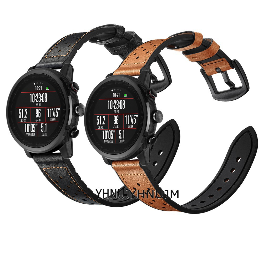 22mm Strap for Huami Amazfit Stratos 2 Leather Silicone Band