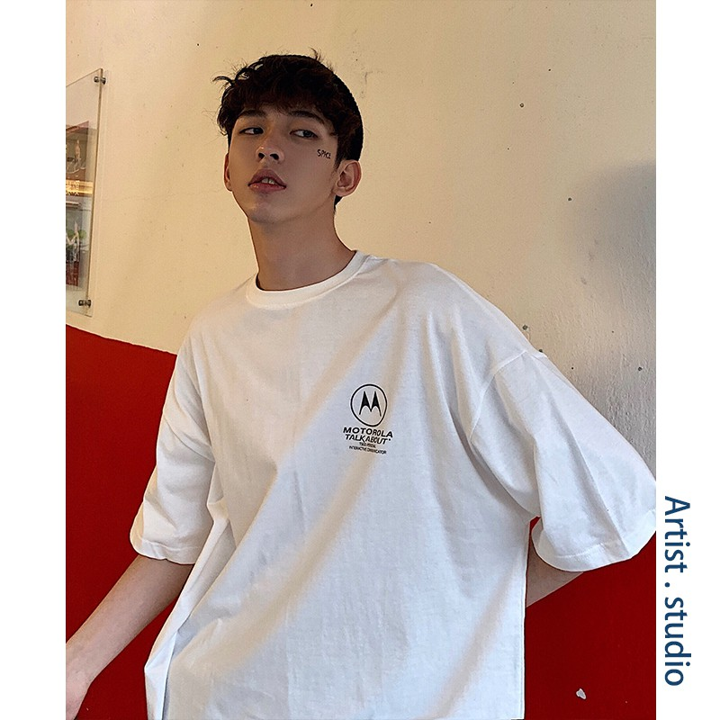 Loose half sleeve shirt men's trend short sleeved T shirt ca