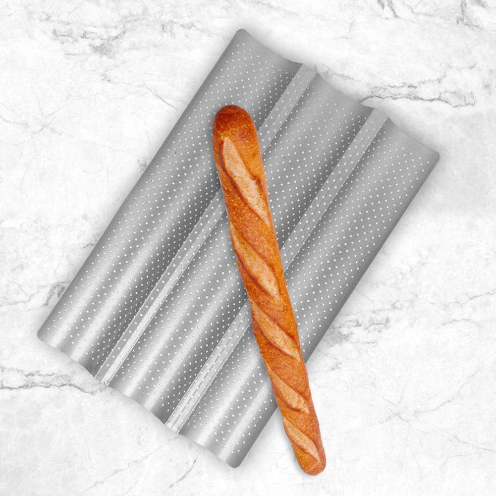 Non-Stick Perforated French Bread Pan Mold Wave Baker Baking Tool