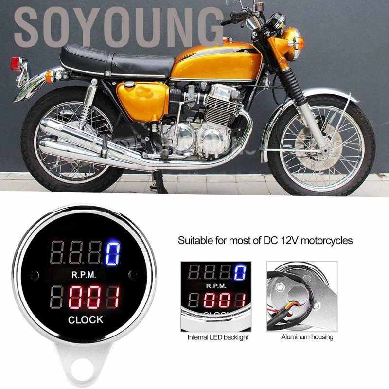 Motorcycle Tachometer-DC 12V Universal Motorcycle LED Backlight Tachometer Electronic Tach Meter Gauge