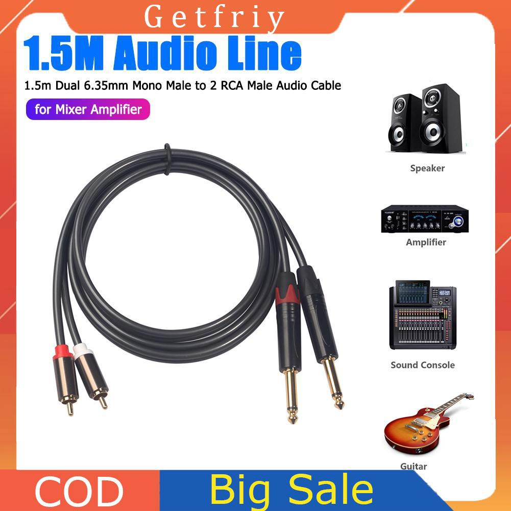 """10 Ft Right Angle 1//4/"""" to Mono RCA-M Cable"""
