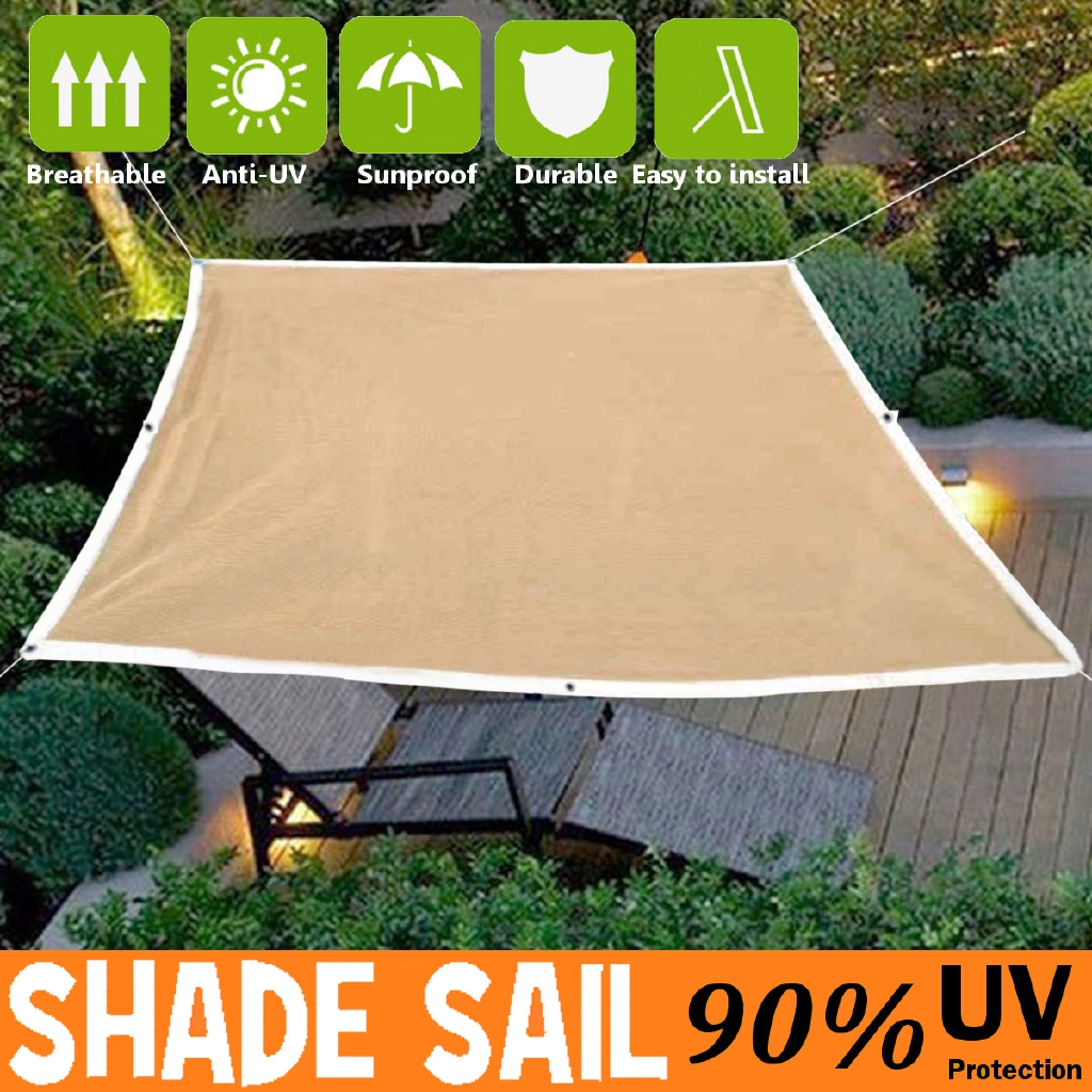 2 4m sun shade sail outdoor garden waterproof awning canopy patio cover uv block