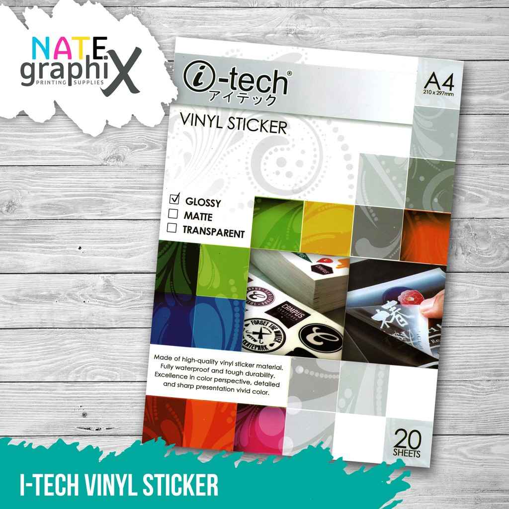 photo relating to Printable Vinyl Sticker identify i-Tech Vinyl Sticker Watertight A4 Shiny Clear Matte