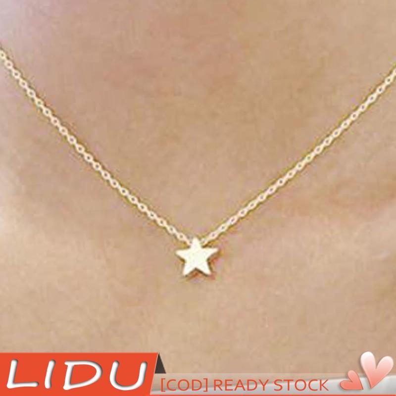 Lidu Simple Tiny Five Point Star Pendant Women Choker Short