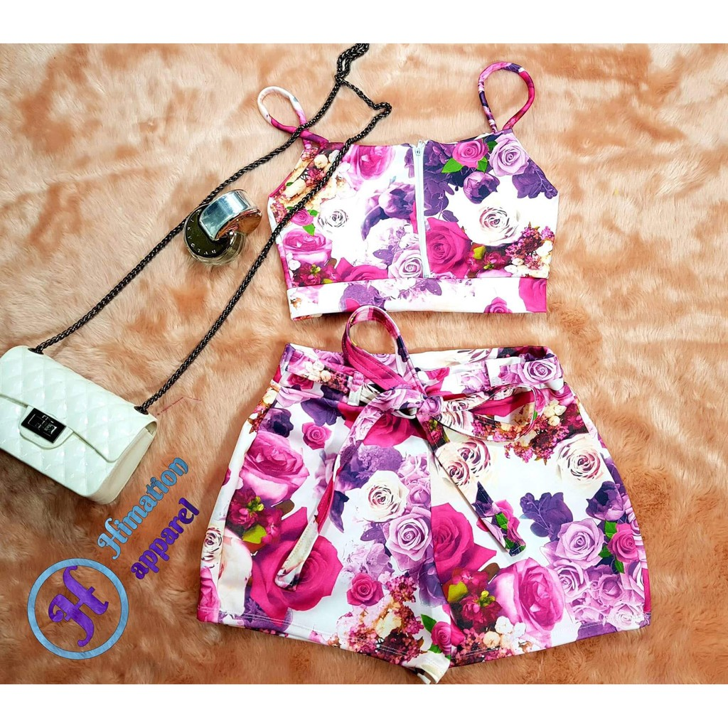 a74943cc2ae3 Pink Floral Crop top with highwaist shorts terno | Shopee Philippines