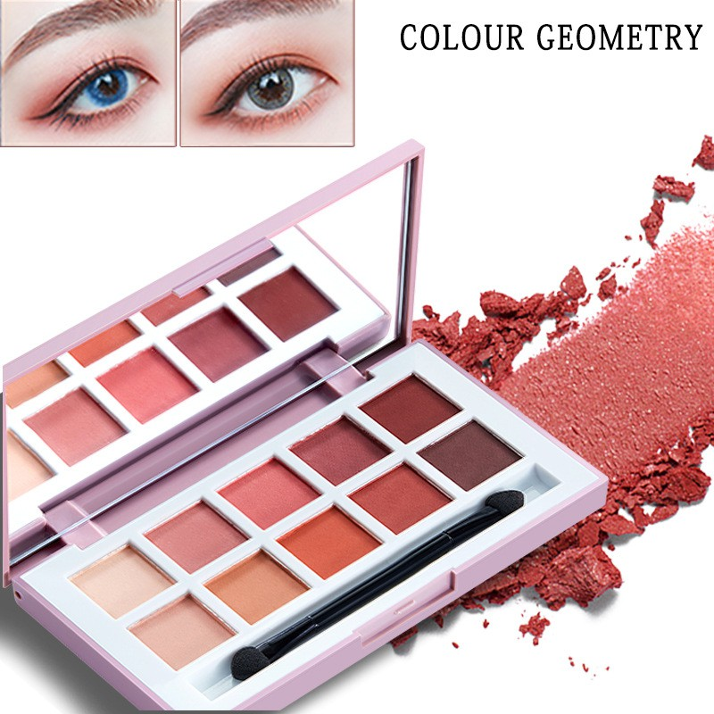 Makeup Pallete Colour Geometry 12 Colors Long Lasting Glitter Eyeshadow Palette Pearl Matte Mix Make Up Tools Women Girl Gift In Short Supply Beauty Essentials Eye Shadow