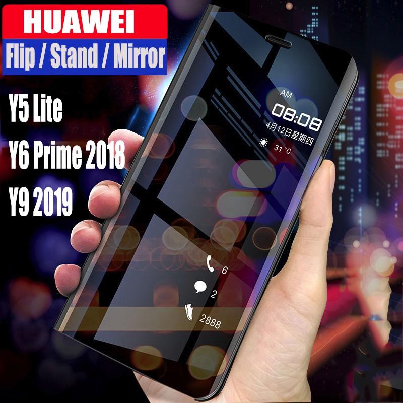 Huawei Y9 2019 Case Y5 lite Y6 Prime 2018 Casing Smart Flip mirror 360°  Protective Shockproof Case