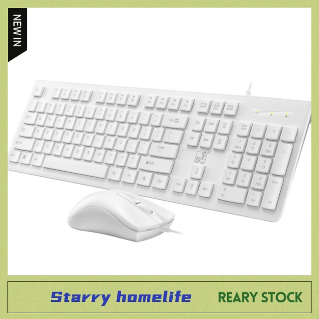 MeterMall S500 Wired Keyboard for Business Office Home Laptop Desktop Computer Wired Keyboard White Square keycap