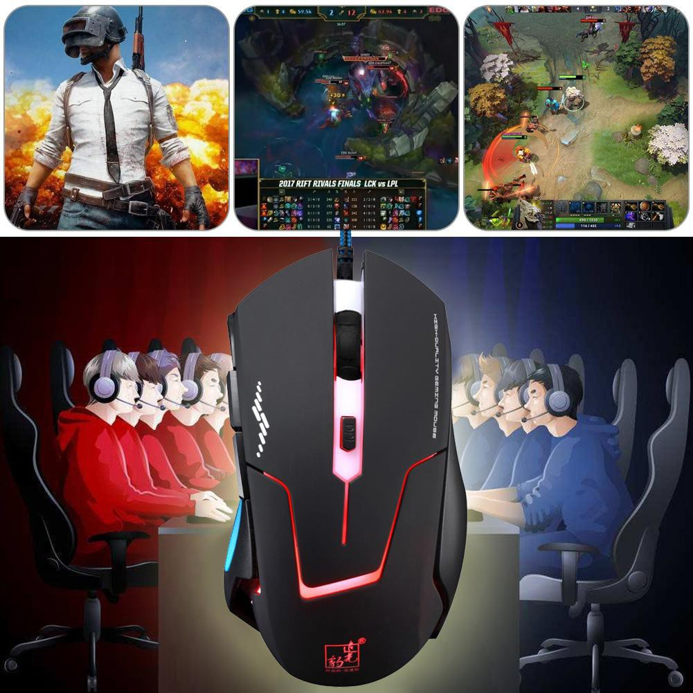 0fd8eb4105a T7 USB Wired Gaming Mouse 6 Button 2400DPI Colorful Backlight Optical Mouse    Shopee Philippines
